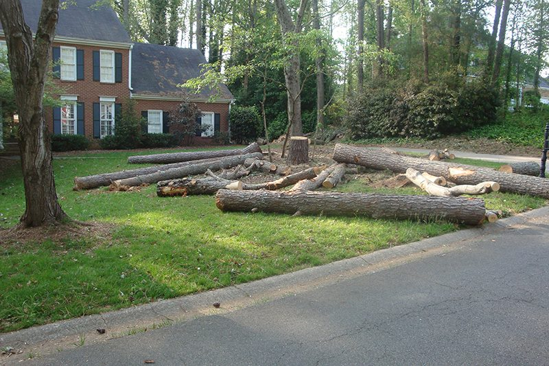 Logs left on a homeowner's property by a competitor.